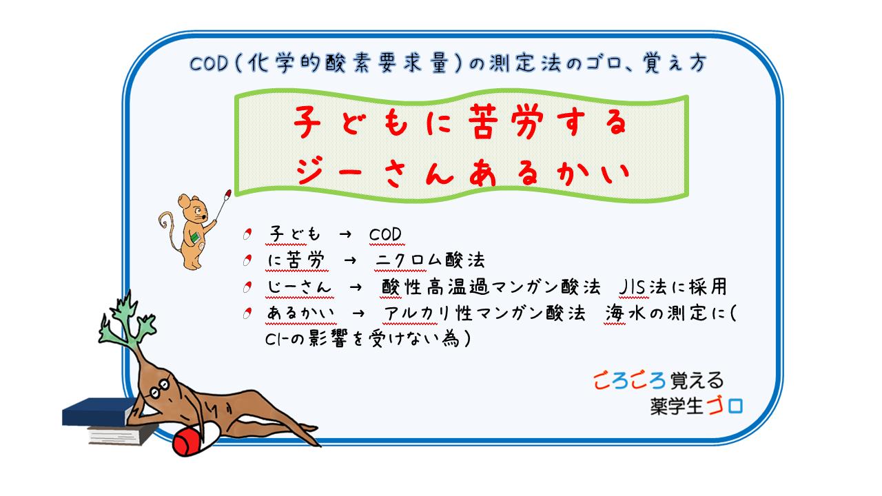 COD(化学的酸素要求量)の測定法のゴロ、覚え方 【薬剤師国家試験 ...