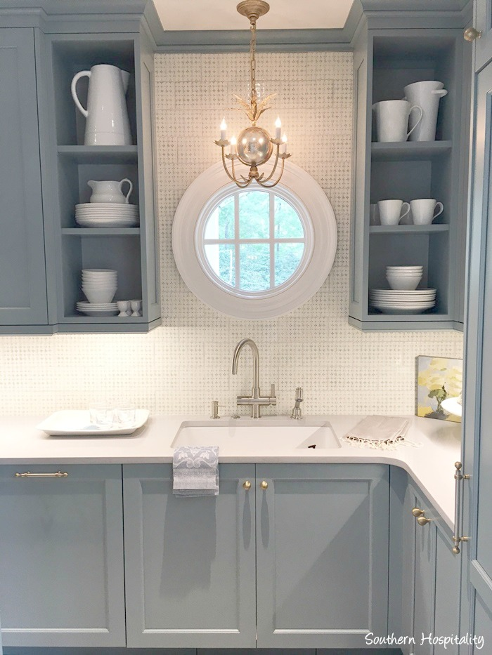 Stunning blue and white traditional kitchen in 2017 Southeastern Designer Showhouse in Atlanta.