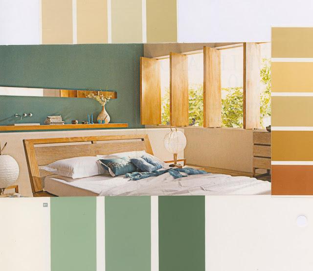décoration, chambre, vert, ambiance, couleurs, nuancier, moderne, bois