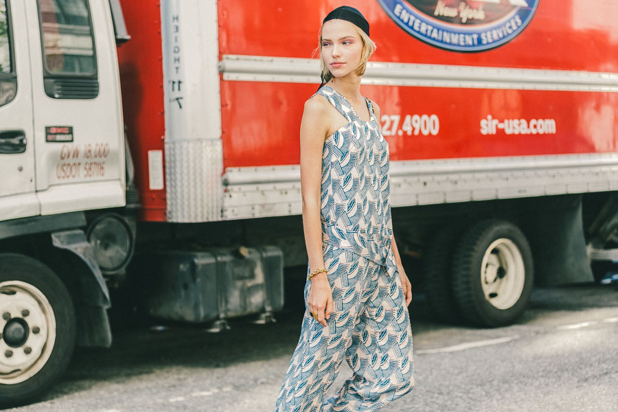 Street Style: Sasha Luss in a Printed Jumpsuit