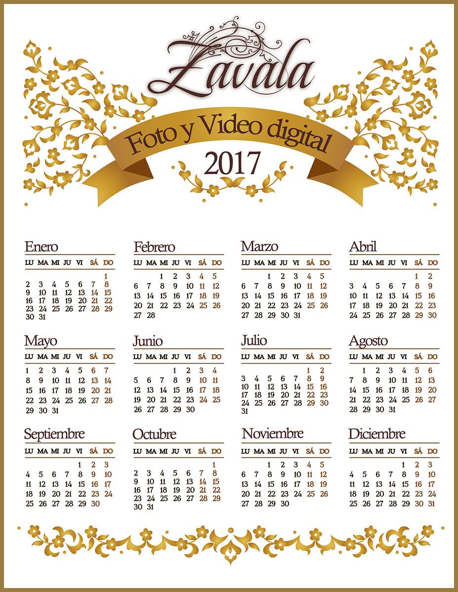 Calendario 2017 gratis en .psd - Calendarios para Photoshop gratis.