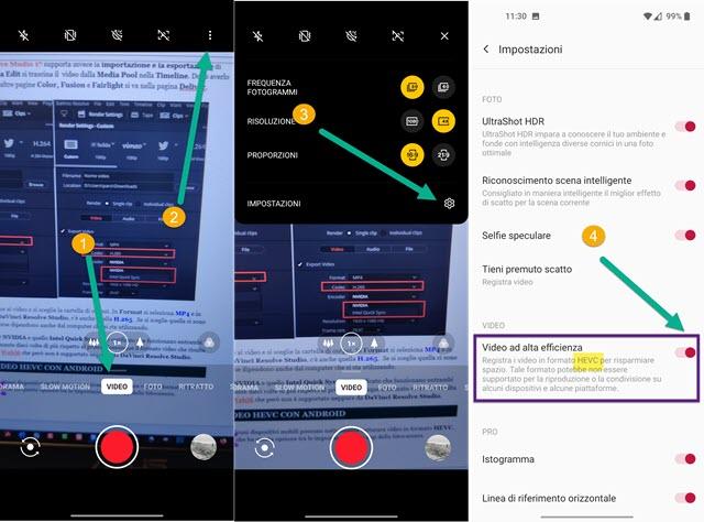 come creare video HEVC con Android