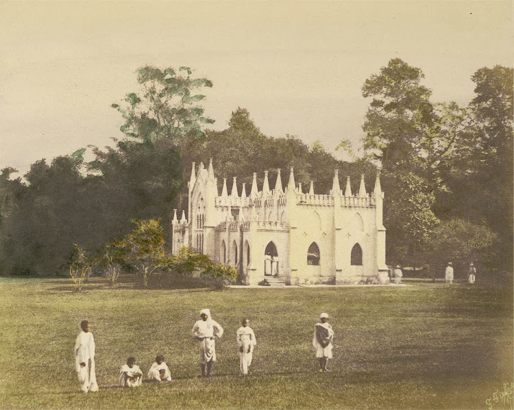 School in Barrackpore Park (Near Calcutta) - Hand Coloured Print c1851