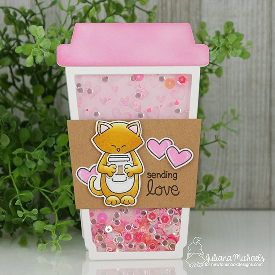 Sending Love Coffee Cup Shaped Shaker Card by Juliana Michaels | Sending Hugs Stamp Set by Newton's Nook Designs #newtonsnook #handmade