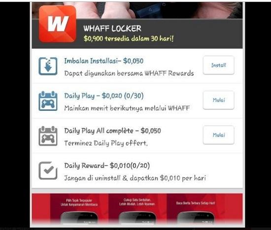 WHAFF LOCKER untuk dapat pulsa gratis
