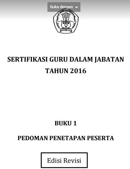 gambar buku pedoman sertifikasi guru 2016 revisi