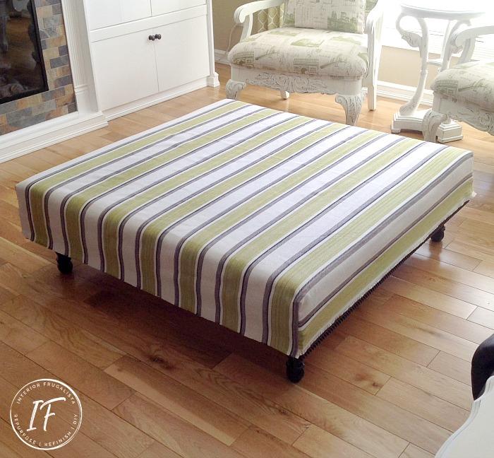 DIY Ottoman Slipcover Upholstery