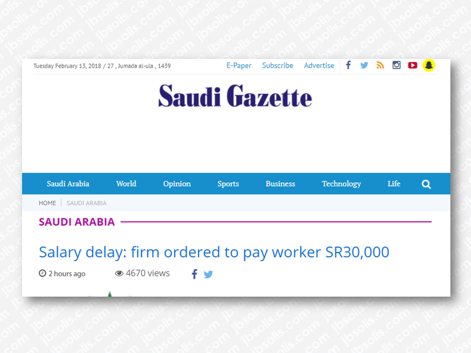 "A company working for the Ministry of National Guard was ordered Ministry of Labor and Social Development in Madinah to pay one of its workers SR30,000 and hire him on a new contract because of the delay in salaries. At the same time, the ministry asked from the employee to file a new lawsuit demanding compensation for the case expenses for which the decision was issued on the procrastination of the company in implementing the ruling and provide evidence before the judge in the preliminary body to settle labor disputes in the region, Al-Madina reported.   Al-Ghamdi was quoted by the newspaper as saying that his suffering started with the company that is working on a project with the Ministry of National Guard in Madinah. ""I started working in government relations on 1/12/2011."" He pointed out in September of 2015 the salaries of all workers in the project started getting delayed. ""I was living in a rented apartment, and after I failed to pay my rent, the landlord asked me to evacuate the apartment immediately in addition to the rented car that I can't pay,"" he added.  Sponsored Links  Al-Ghamdi continued, ""I filed a complaint with the branch of the Ministry of Labor and Social Development in Madinah, which in turn issued its ruling obliging the company to make a new contract and pay my dues of SR30,596.""  Director General of the Ministry of Labor and Social Development in Madinah region, Abdullah bin Ghazi Al-Saadi explained that the decision issued is final and cannot be appealed. The decision also ends the role of the Ministry of Labor and Social Development. It also does not prevent the employee from making a new claim in which he seeks the fees of the previous case.       Advertisements  Read More:   Things You Need to Know About Senior Citizen's Benefits    Body Of Household Worker Found Inside A Freezer In Kuwait; Confirmed Filipina  Senate Approves Bill For Free OFW Handbook    Overseas Filipinos In Qatar Losing Jobs Amid Diplomatic Crisis—DOLE How To Get Philippine International Driving Permit (PIDP)    DFA To Temporarily Suspend One-Day Processing For Authentication Of Documents (Red Ribbon)    SSS Monthly Pension Calculator Based On Monthly Donation    What You Need to Know For A Successful Housing Loan Application    What is Certificate of Good Conduct Which is Required By Employers In the UAE and HOW To Get It?    OWWA Programs And Benefits, Other Concerns Explained By DA Arnel Ignacio And Admin Hans Cacdac     SUBSCRIBE TO OUR YOUTUBE CHANNEL   ©2018 THOUGHTSKOTO  www.jbsolis.com   SEARCH JBSOLIS, TYPE KEYWORDS and TITLE OF ARTICLE at the box below"