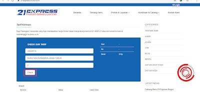 3. Sebagai contoh saya akan mengirim barang dari Jakarta ke Surabaya dengan berat barang 2 kg, lalu klik Check untuk melihat pilihan service dan biaya nya