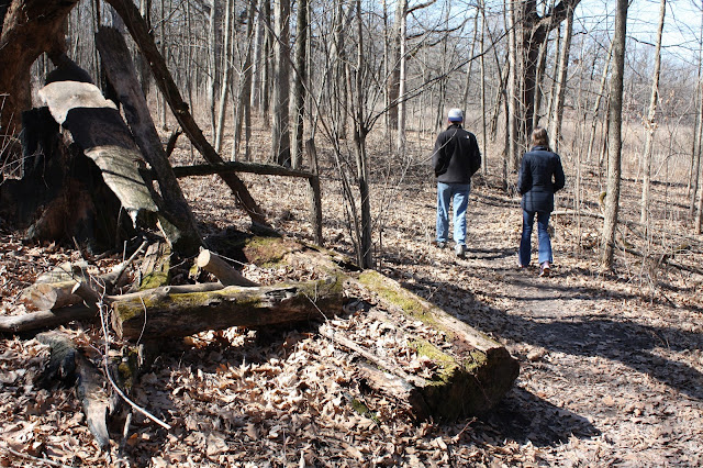 Hiking in Coral Woods in Marengo, Illinois during late winter.