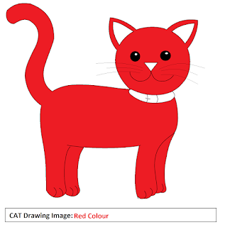 cat drawing images - Red Colour