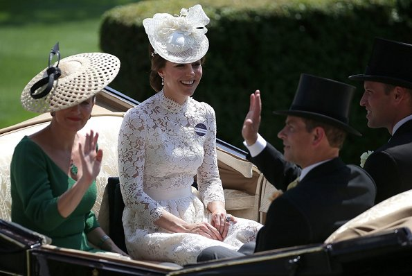 Queen Elizabeth, Duchess Camilla, Duchess Catherine, Countess Sophie of Wessex, Princess Beatrice, Princess Eugenie, Zara Phillips, Kate Middleton wore lace dress