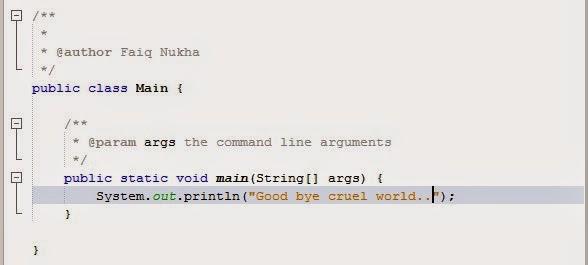 """Membuat Program Sederhana """"Good bye cruel world"""" di NetBeans 1"""