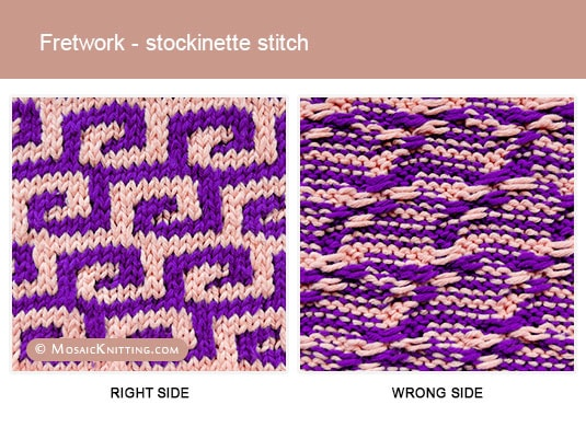 Mosaic Knitting - 2 Colour Knitting Stitch Pattern. Right side vs wrong side of the Fretwork - stockinette stitch