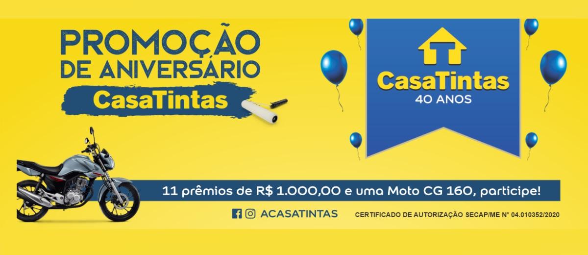 Participar Promoção 40 Anos Casa Tintas Sorteio Prêmios - Aniversário