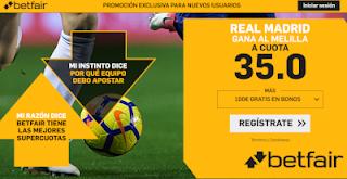 betfair supercuota Real Madrid gana a Melilla 6 diciembre