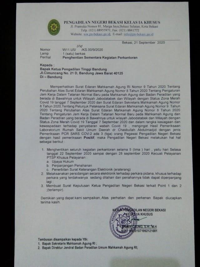 Tiga Pegawai PN Bekasi Positif Covid-19, PN Bekasi Tutup Selama Lima Hari