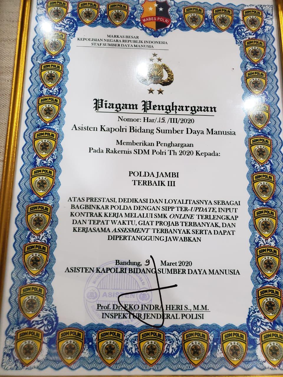 Mantab!! Polda Jambi Terima Piagam Penghargaan Dari Asisten Kapolri Bidang Sumber Daya Manusia Tahun 2020