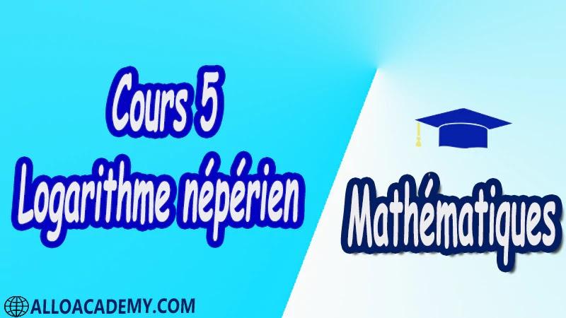 Cours 5 Fonction Logarithme pdf Mathématiques Maths Fonction Logarithme Introduction du logarithme Définition Relation fondamentale Etude de la fonction logarithme Limite aux bornes Variations Fonction ln(u) Croissance comparée du logarithme népérien et des fonctions puissance Equations et inéquations Nombre e Résolution d'équations Résolution d'inéquations logarithme décimal Cours résumés exercices corrigés devoirs corrigés Examens corrigés Contrôle corrigé travaux dirigés td