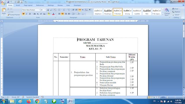 Download Prota Matematika kelas 5 SD MI Semester 1 Kurikulum 2013 Revisi terbaru