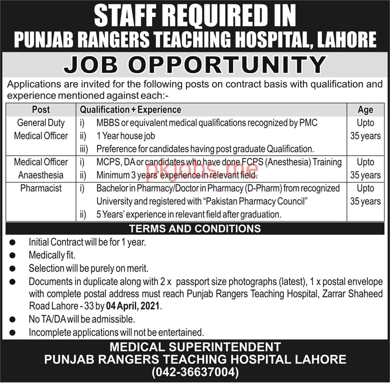 Latest Punjab Rangers Teaching Hospital Medical Posts 2021