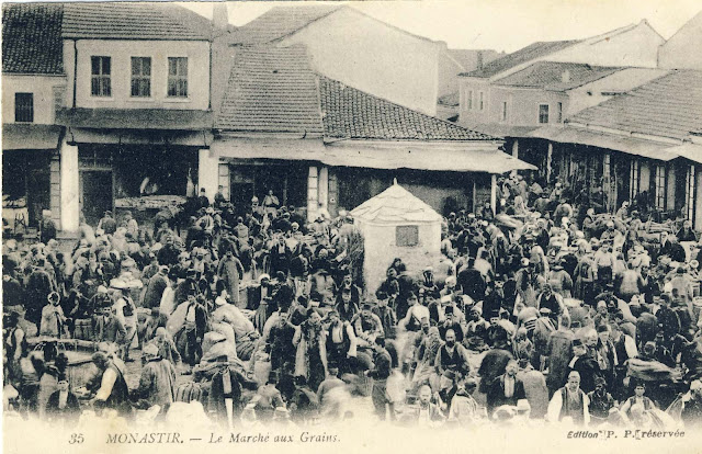 Grain Bazaar in market day. Postcard issued by Levy Fils & Cie, Paris, from a photograph since May 1905.