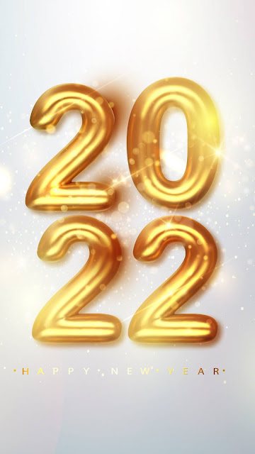Phone Wallpaper 2022 Gold Metallic Numbers