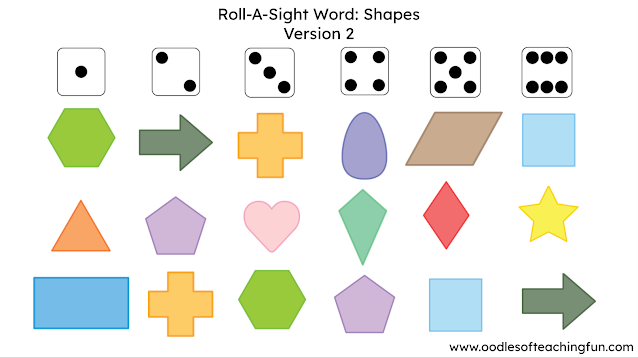 Shape Practice for the Home and School: Roll-A-Shape (Free Download)