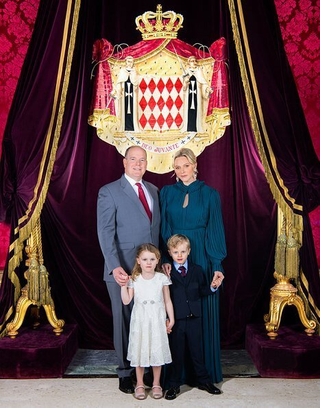 Prince Albert, Princess Charlene with Crown Prince Jacques and Princess Gabriella. Pleated Long Sleeve Gown tea