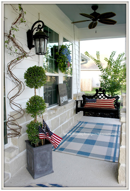 Patriotic Home Decor-4th of July- Front Porch-Porch Swing-Flag Pillow-From My Front Porch To Yours