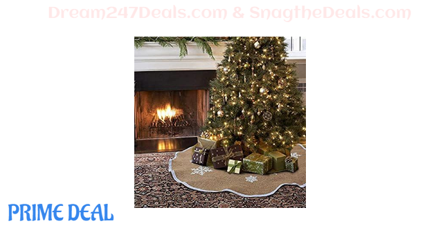 60% OFF Christmas Tree Skirt 48 Inches Burlap Snowflake