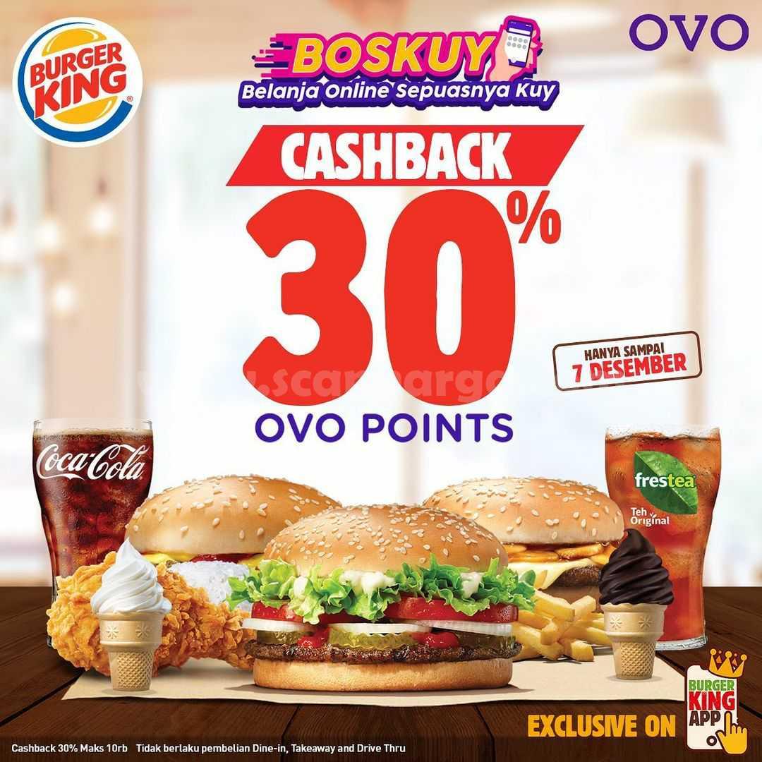 Burger King Promo CASHBACK 30% Transaksi Dengan OVO