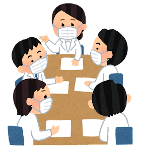 マスクを付けた会議のイラスト(白衣)