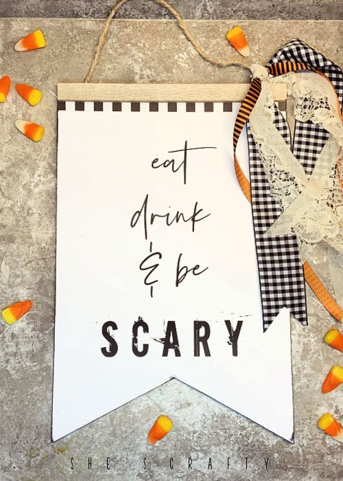 Eat Drink and Be Scary free printable for Halloween Sign