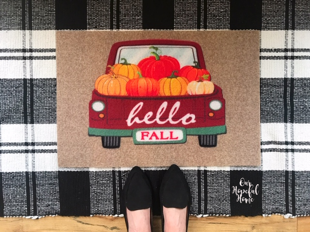 hello fall pickup truck pumpkins door mat buffalo check throw rug
