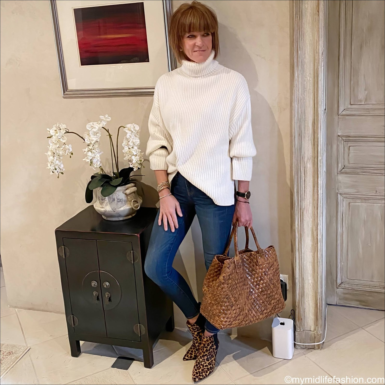 my midlife fashion, H&M conscious chunky ribbed roll neck jumper, riviera woven iris tote bag, j crew 8 inch toothpick jeans, hush leopard print kitten heel ankle boots