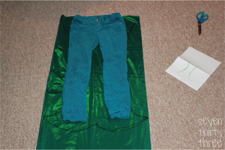 Fold the fabric so that it is right side touching right side lengthwise. First I grabbed a pair of my daughters pants and laid them down on the piece of ... & DIY Mermaid Costume - Inspiration Made Simple