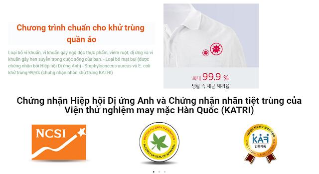 Chứng nhận Hiệp hội Dị ứng Anh và Chứng nhận nhãn tiệt trùng của Viện thử nghiệm may mặc Hàn Quốc (KATRI)