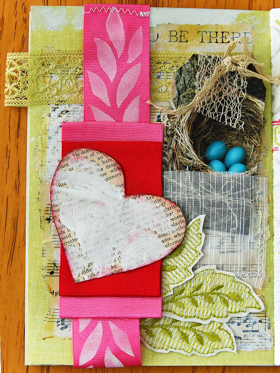 Album page with robin egg tag by Jeanne Selep