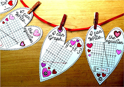 Slope-intercept Hearts Math pennant for Linear Equations