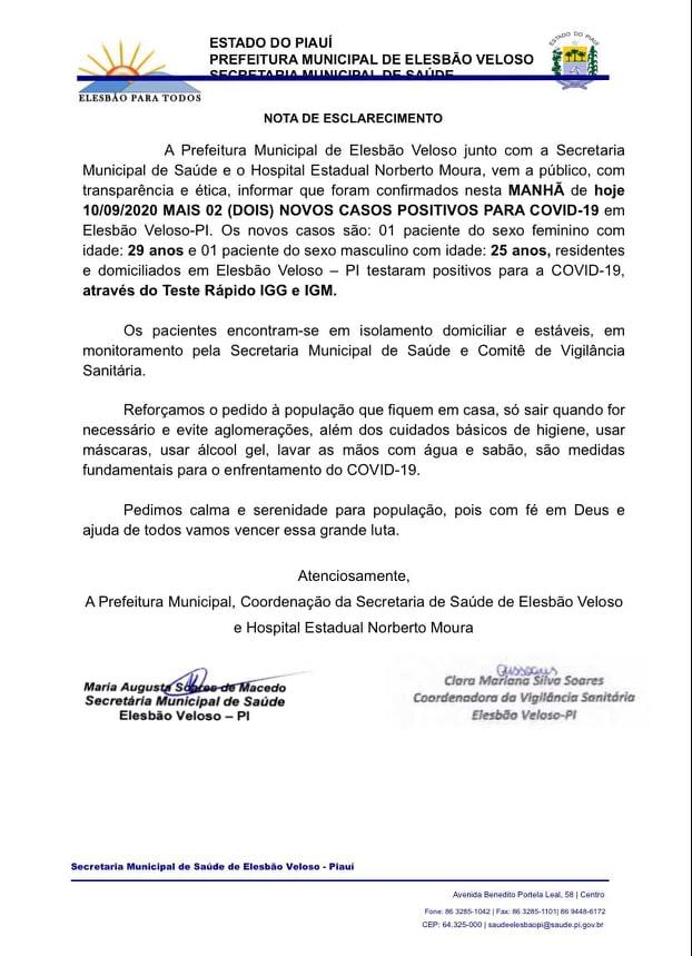 Com queda na taxa de contágio, Elesbão Veloso registra dois casos do COVID-19 nesta quinta-feira(10/9).