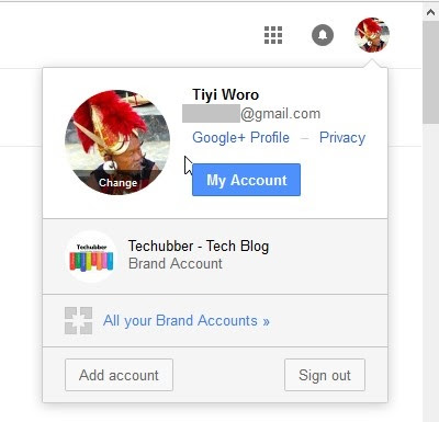 switch between the default Google+ Account and the Brand Account when clicking on the Google+ Profile picture