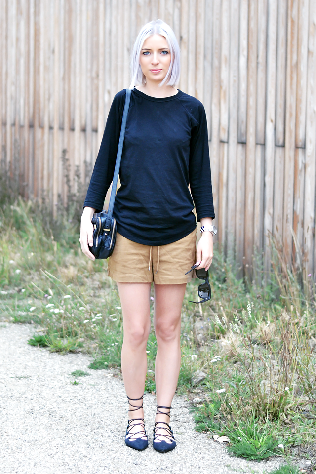 Ootd, outfit, Asos baseball top, h&m suede shorts, zara bag, ebay, lace up flats, ballet flats, budget, basic, street style, summer 2015, marc by mac jacobs