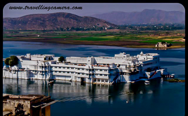 A view of the Lake Palace from one of the terraces of the City palace.