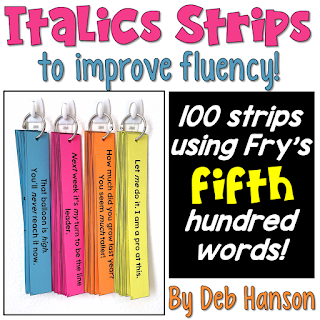 Italics Strips to promote reading fluency! This resource features 100 words from Fry's common word list.