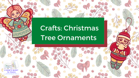 text: Crafts: Christmas Tree Ornaments; two ornament cliparts