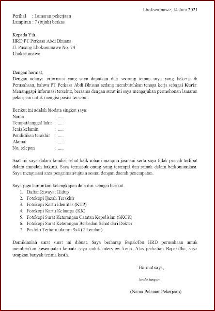 Contoh Application Letter Untuk Kurir (Fresh Graduate) Berdasarkan Informasi Dari Seseorang