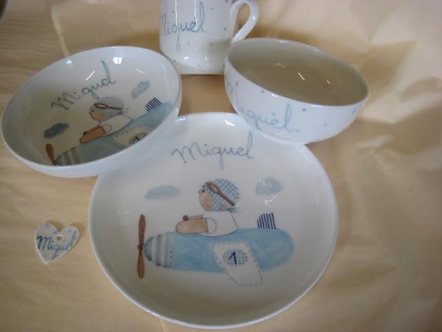 Vajilla de cerámica infantil, personalizada con nombre
