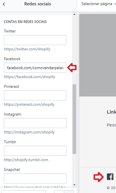 personalizar loja virtual redes sociais