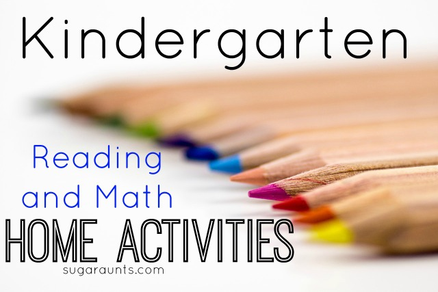 Kindergarten math and reading sight word activities.